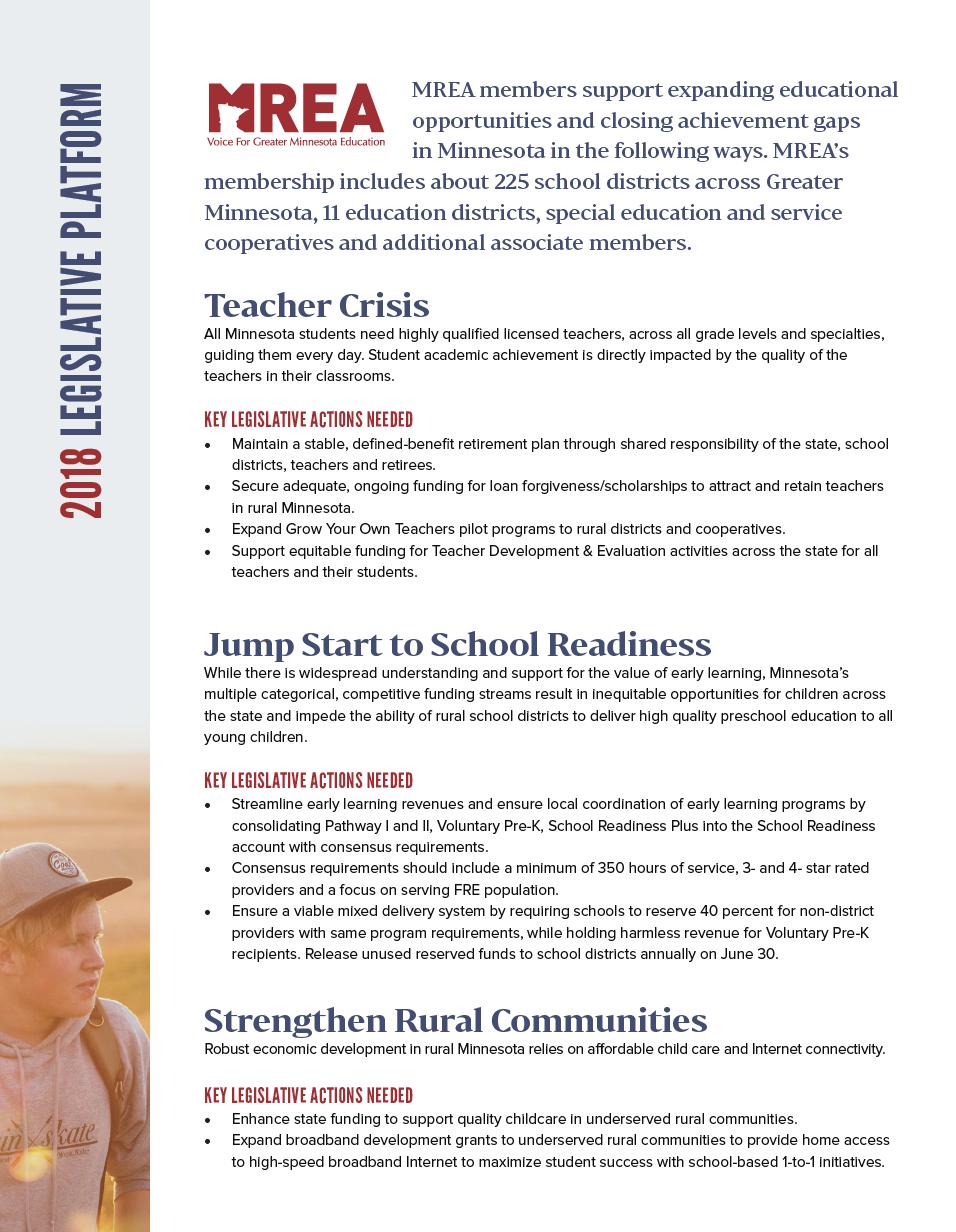 Legislative Platform Mrea Minnesota Rural Education Association